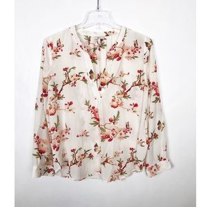 Joie Floral Long Sleeved Silk Blouse sz S